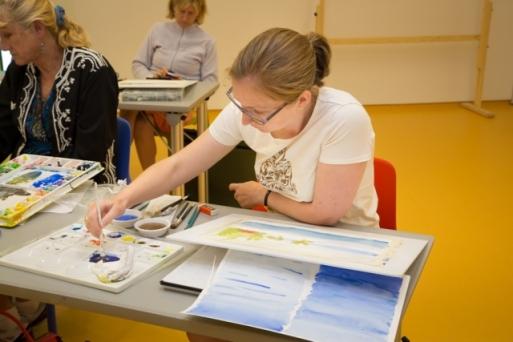 Meg at a watercolor class at PEM